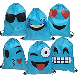 AWYK Blue Emoji Drawstring Backpack Bags for Party Favors Supplies Birthday, Gift for Kids Teens Boys and Girls, 6 Pack Cute Assorted Emoticon sacks, 17x13.5 Inch (43X34cm)
