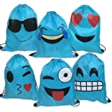 Best Emoji Backpacks For Kids - Blue Emoji Drawstring Backpack Bags for Christmas Party Review