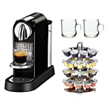 Nespresso CITIZ D111 Espresso Machine in Limousine Black ECO + 2-Piece 10 oz. ARC Handy Glass Coffee Mug + Accessory Kit