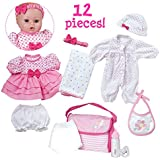 "Adora PlayTime Baby 12 Piece Gift Set Pink 13"" Girl Washable Cuddly Soft Toy Play Doll with Open/Close Eyes for Kids 3+"