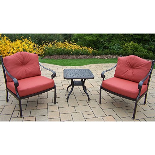 Oakland Living Corporation Verona Cast Aluminum Deep Seating Chat Set with 2 Double Cushioned Club Chairs and Side (Verona Club Chair)