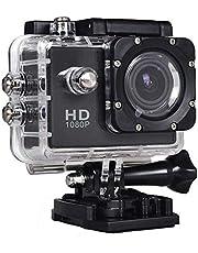 كاميرا دي في ار اكشن رياضية فل اتش دي ودرجة وضوح 12 ميجابيكسل مضادة للماء مع 15 قطعة اكسسوارات - لون اسود