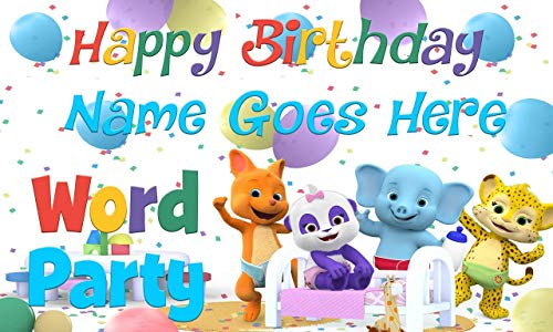 Word Party Birthday Banner Personalized/Custom by MyBirthdayBanners