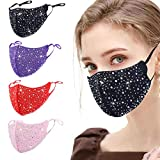4 Pcs Glitter Rhinestone Face Cloth Mask for Women, Sparkle Stylish Sequin Reusable Breathable Designer Adjustable Washable Bling Diamond Crystal Masquerade Fancy Beauty Fashionable (Color: Multi-colored-f, Tamaño: 4 Count (Pack of 1))