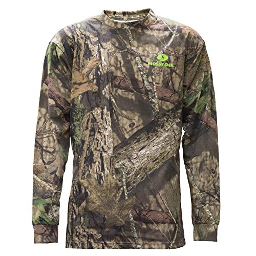 Tee Outline Camo - Staghorn Mossy Oak All Over Camo Ls Tee, Mossy Breakup Country, Large