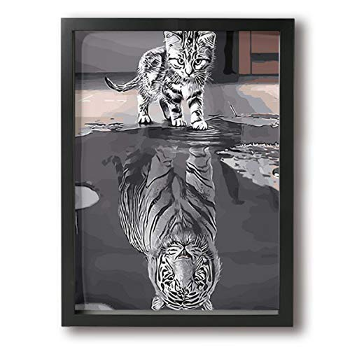 MISSMORN Wall Art Decor Ready to Hang-12 X 16in Mirror Tiger Framed Art Wall Decor Home Wall Art for Living Room Stylish Valentine's Day Present