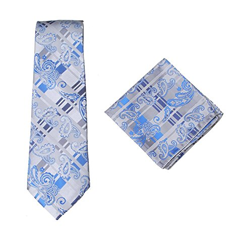 white amp; Tie Striped Handkercief amp; Wedding Tie Silk Pocket Set Sets Mens 100 Formal Stripe Premium Paisley Square Hanky Blue AwxUC4q
