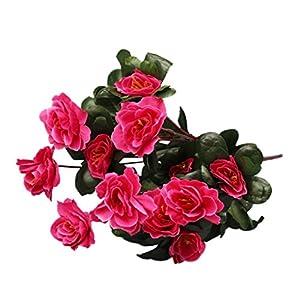 Inverlee 1Pcs Artificial Flowers Azalea Safflower Floral Fake Flowers Wedding Bridal Bouquet DIY Home Garden Decor (Hot pink) 99