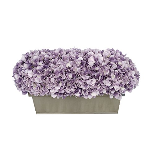 House of Silk Flowers Artificial Hydrangea in Gloss Silver Zinc Rectangle (Lavender)
