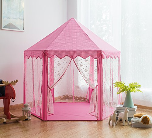 Pericross Snowflake Veil Hexagon Princess Play Tent with Metal Frame and 10M 100 Diodes LED Brass wire Lights and Flash Control (Tent Combo Toy)