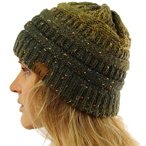 CC Confetti Ombre Warm Chunky Soft Stretch Knit Slouch Beanie Skull Cap Hat Olive
