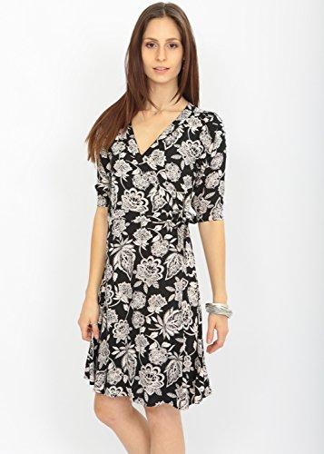Robe portefeuille Imprimé Floral avec décolleté en V et manches 3/4