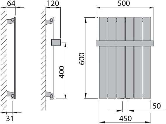 294 Watt nach EN442 Design Paneelheizk/örper Heizk/örper Badheizk/örper 60 x 45 mit Mittelanschluss
