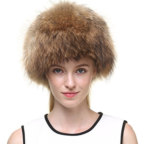 Vogueearth Women'Real Raccoon Fur Winter Warmer Hat Nature Brown