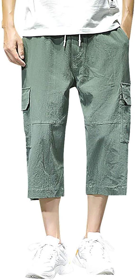 YiYLuuneo Pantalones Cortos para Hombres De Bolsillos ...
