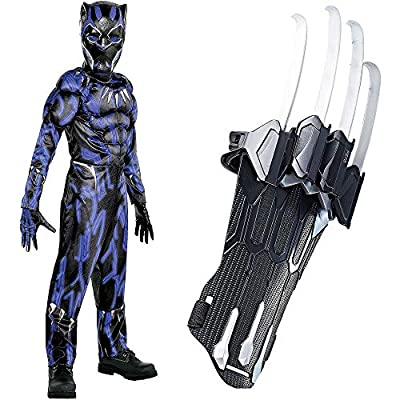 Party City Black Panther Claws Halloween Costume for Boys, Marvel's Avengers, Medium, Includes Jumpsuit, Mask and Gloves: Clothing
