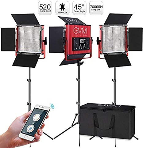 2 Pack 520 CRI//TLCI 97 GVM Video Lighting Kits with APP Control High Brightness Video Lights with Stand Bi-Color 3200-5600K Led Light Panel for Photography Video Lighting Studio Interview Portrait