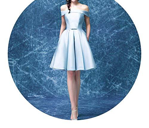 (Luxury Satin Boat Neck Off-The-Shoulder A-line Blue Short Bridal Party Elegant Prom Dress,6,SkyBlue)