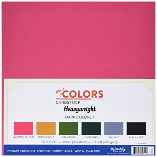 12 Cardstock Multi Pack - My Colors 210021 Darks Heavyweight Cardstock Bundle (18 Pack), 12