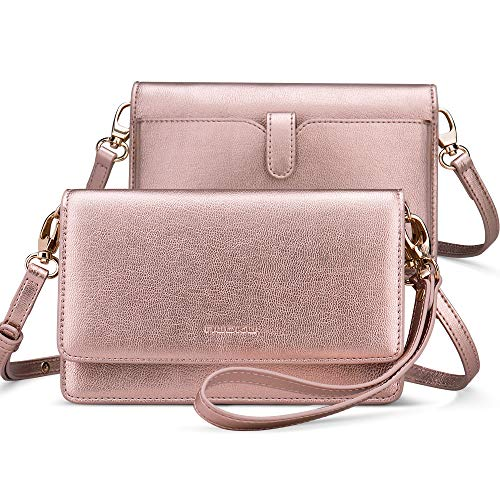 nuoku Women Small Crossbody Bag Cellphone Purse Wallet with RFID Card Slots 2 Strap Wristlet(Max 6.5'')(Pink)