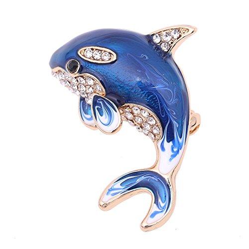 White Swan Ballerina Costume (Jewelry Blue Enamel Crystal Dolphin Brooch Pin Men Brooch Wedding Rhinestone Brooches For Women 115A)