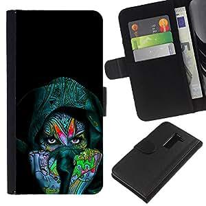 KLONGSHOP // Tirón de la caja Cartera de cuero con ranuras para tarjetas - Colorido Mujer india - LG G2 D800 //