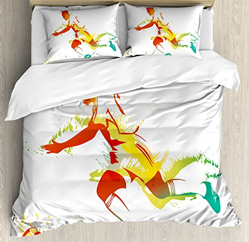 Ambesonne Teen Room Decor Duvet Cover Set King Size, Young Man Playing Soccer Football Athlete Game Champion Paintbrush Artwork, Decorative 3 Piece Bedding Set with 2 Pillow Shams, Multicolor by Ambesonne