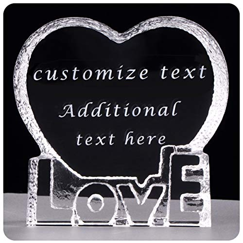YWHL Personalized Custom Love Shape Crystal Sculpture Gifts for Anniversary,Wedding,Birthday, Valentine's Day