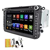 EinCar 8 inch Quad Core Android 4.4 Kitkat HD Double 2 Din in Dash Radio for Volkswagen Car Stereo with DVD Player GPS Navigation System Head Unit Bluetooth/wifi/Free Canbus
