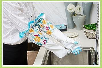 Baanuse M/énage Gants de Lavage de Vaisselle Anti Skid Nettoyage Latex en Caoutchouc imperm/éables Coton int/érieur