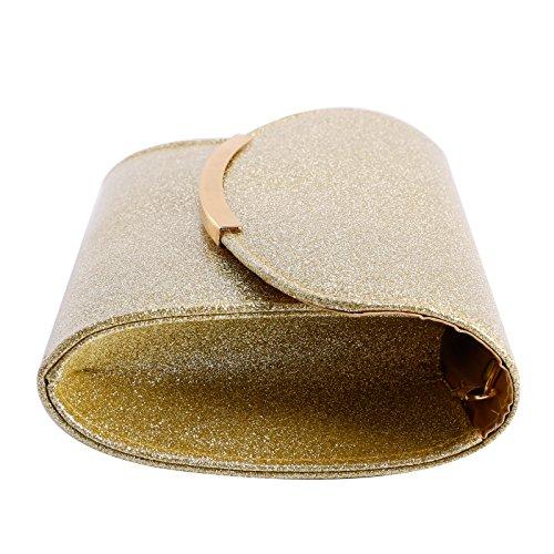 Purse Gold Bag Evening Party Prom Wedding Handbag Shiny Clutch Glitter Shoulder Anladia vgUwTqw