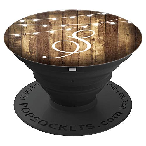 S Monogram Rustic Letter Wood Grain Wooden Look Name Initial - PopSockets Grip and Stand for Phones and Tablets