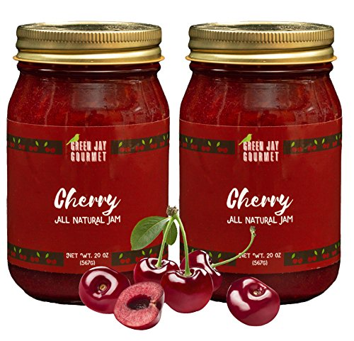 Green Jay Gourmet Cherry Jam - All-Natural Fruit Jam with Ch