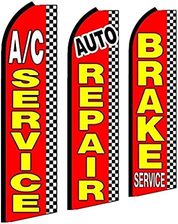 Alignment Transmission Service Open King Swooper Feather Flag Sign Kit with Pole and Ground Spike Pack of 3