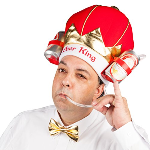 BigMouth Inc King of Beers Drinking Hat, Party Hat Holds 2 Beers, Sodas and More, Built-in Straw by BigMouth Inc