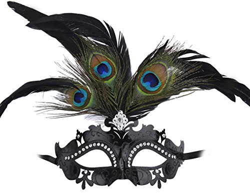[Coxeer Masquerade Mask Halloween Mask with Peacock Feather Black Party Mask] (One Night Stand Costume For Girls)