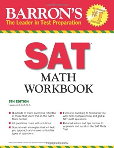math worksheet : barronu0027s sat math workbook 5th edition lawrence leff m s  : Math Workbook