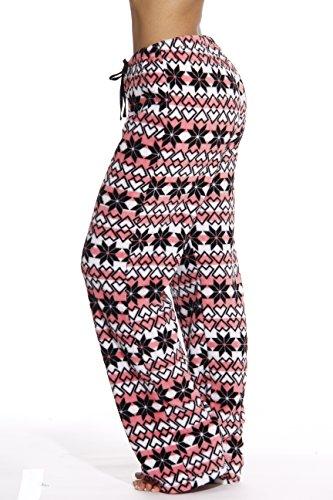 6339-10187-1X Just Love Women's Plush Pajama Pants - Petite to Plus Size Pajamas,Coral - Snowflake,1X Plus by Just Love (Image #1)