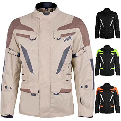 Adventure/Touring Men's Motorcycle Jacket Adv Dual Sport Racing CE Armored Waterproof Windproof Jackets All-Weather (Sand-Brown, S)