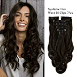 "Neitsi 22"" 7pcs 140g Curly Wave Synthetic Clips in on Hair Extensions Full Head Set HairPieces 14Colors avaliable (2#)"