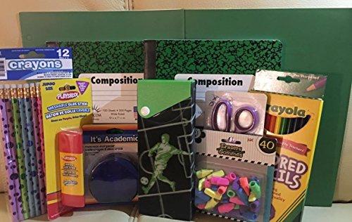 BACK TO SCHOOL GREEN & BLACK 11 PIECE SCHOOL SUPPLY BUNDLE