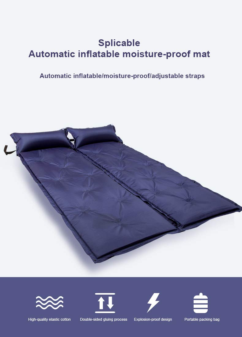 VCAMP Self-Inflating Sleeping Pad Attach Pillows Comfortable Mattress for Camping Hiking Backpacking Beach for 1 Person 2 Person by VCAMP