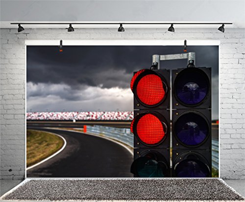 Leyiyi 5x3ft Photography Background Traffic Lights Backdrop Stop Sign Forbiden Waiting Highway Express Road Turning Racing Speed Up City Night View Cloud Sky Photo Portrait Vinyl Studio Video Prop]()