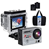 Campark ACT74 Action Camera 4K 30fps WiFi Ultra HD Waterproof Sports Action Cam,SONY Sensor,Free Mounting Accessories and 2 Rechargeable Battery for Bikes Motorbike Snorkeling(Silver)