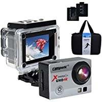 Campark ACT74 Action Camera 4K WiFi Waterproof Sports Camera 170° Ultra Wide-Angle Len with SONY Sensor,2 Pcs Rechargeable Batteries and Portable Package(Blue) …
