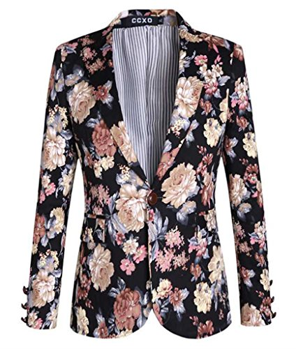 MOGU Mens 1 Button Floral Cotton Blazer Sport Coat Jacket