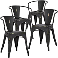Poly and Bark Trattoria Arm Chair in Distressed black (Set of 4)