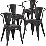 Poly and Bark Trattoria Arm Chair in Distressed Black (Set of 4) Review
