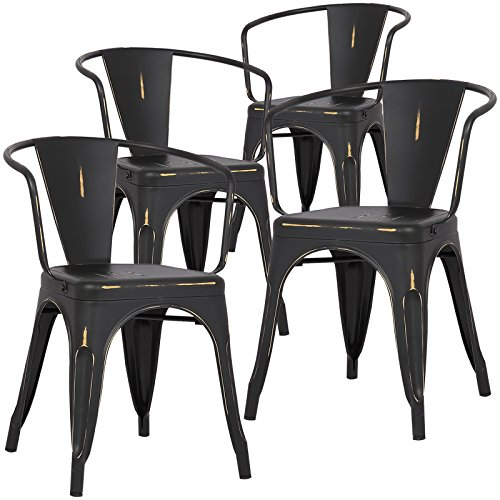 Cheap Poly and Bark Trattoria Arm Chair in Distressed Black (Set of 4)