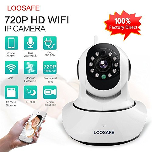 Loosafe Wi-fi IP Camera Best Baby Monitor Best Nanny Cam 720p Quality Wireless Surveillance and Security Camera House and Baby Surveillance Two-Way Voice Intercom Mobile Phone Monitor Night Vision